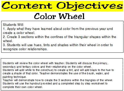 And Discuss Color Theory With Students Through A Question Answer Format Teacher Will Then Use Examples To Show What Be Expected In The Lesson